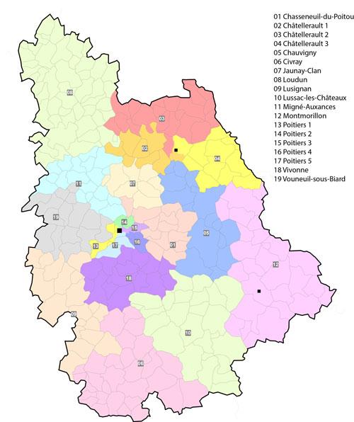 Les 19 cantons de la Vienne